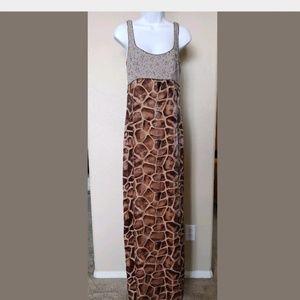 Nicole Miller Giraffe Print Floor Length Sleeveles